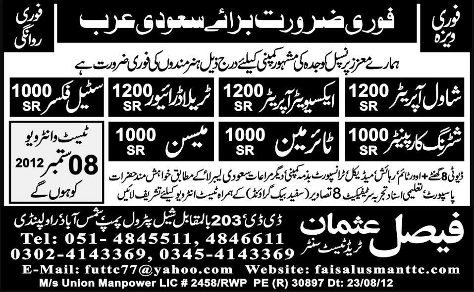 Tyre Man and Operators Required for Saudi Arabia