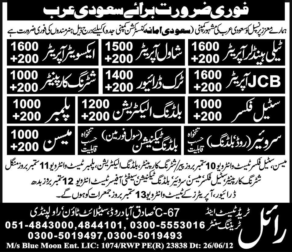 Technical and Construction Staff Required for Saudi Arabia