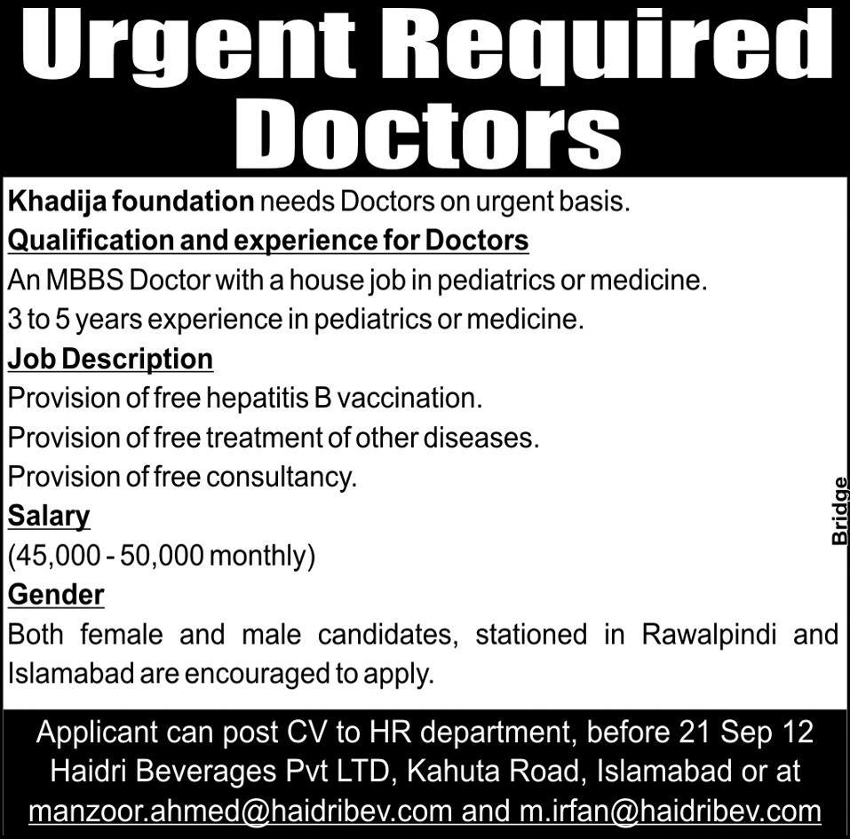 Doctors Required at Khadija Foundation