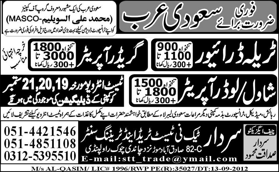 Operators and Driver Required by Sardar Tech-ni-Test Trade Test Centre for Saudi Arabia