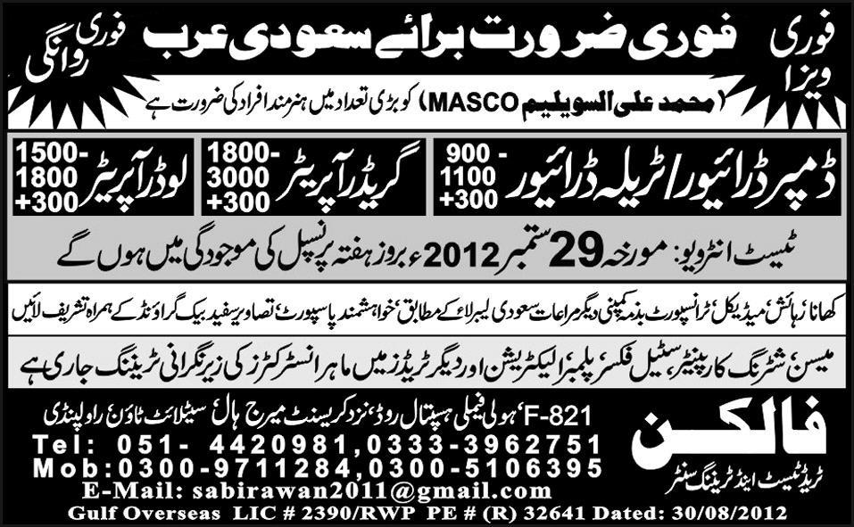 Drivers and Operators Required for Saudi Arabia