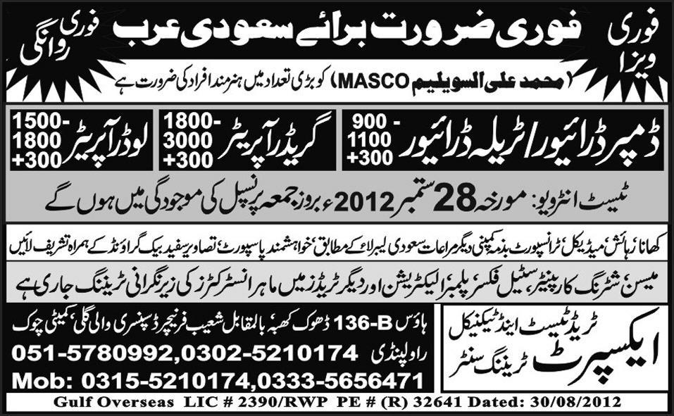 Drivers and Operators Required by Expert Trade Test Centre for Saudi Arabia