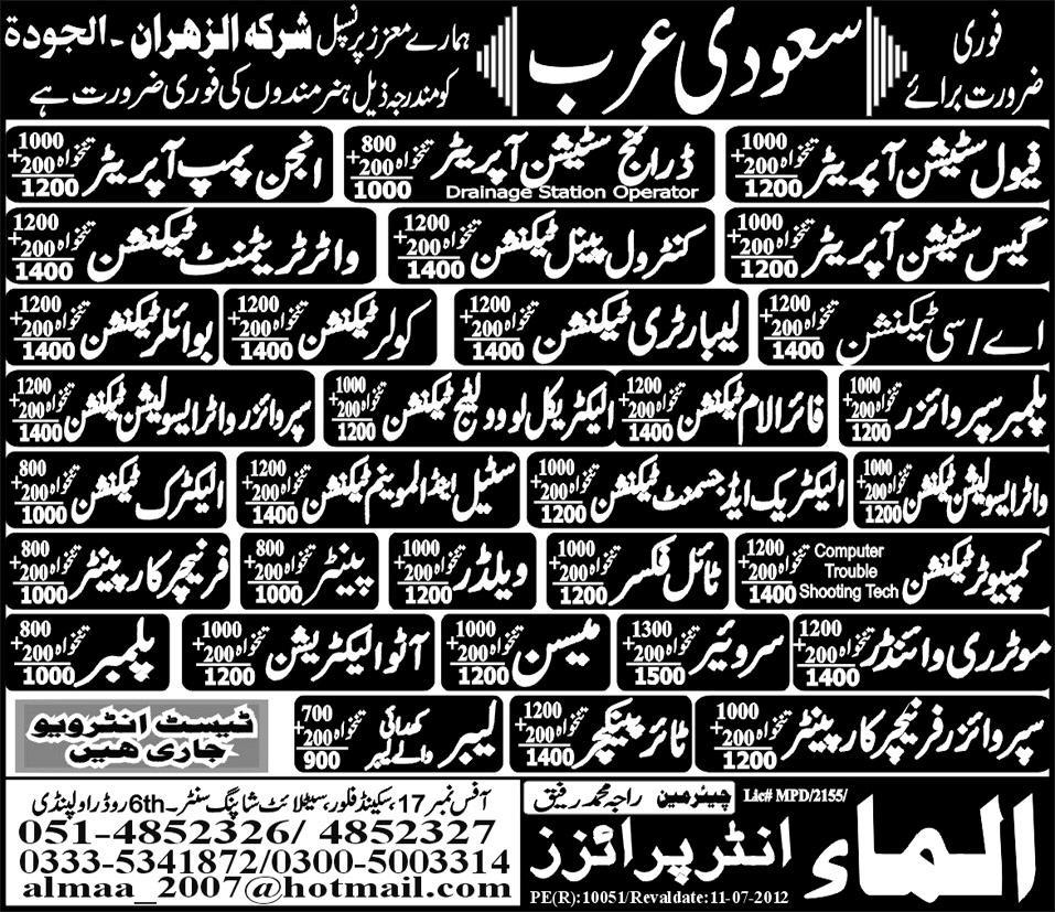 Water treatment technicians and operators required for for Electric motor winder jobs in saudi arabia