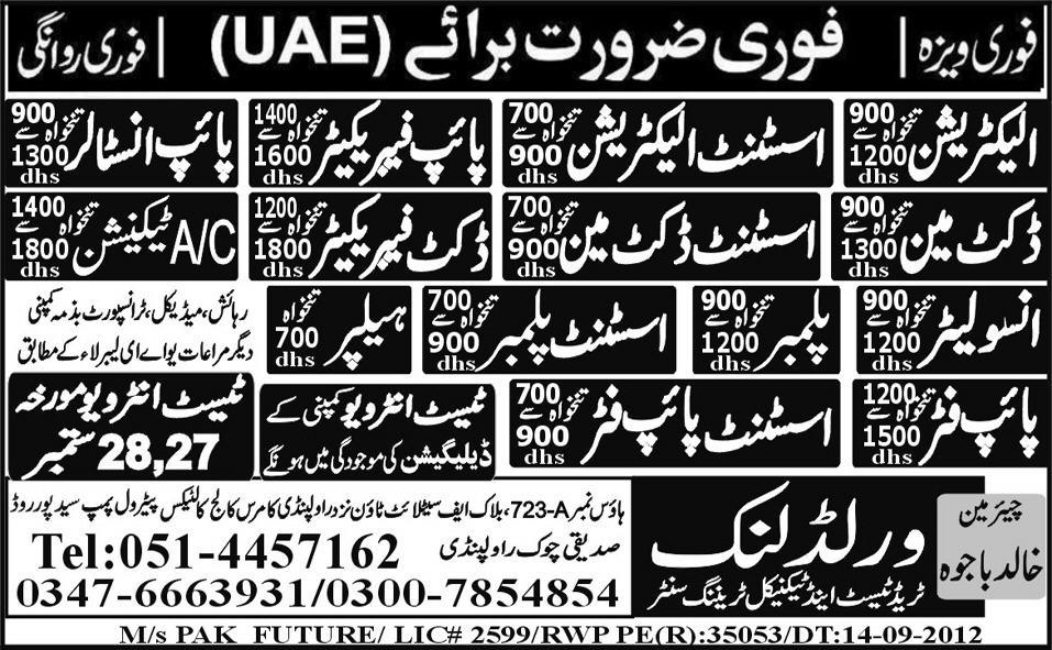 Technical and Mechanical Staff Required by World Link Trade Test Centre for UAE
