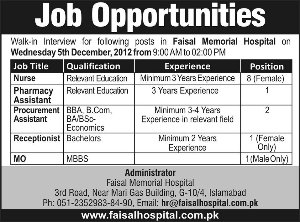 Faisal Memorial Hospital Islamabad Jobs