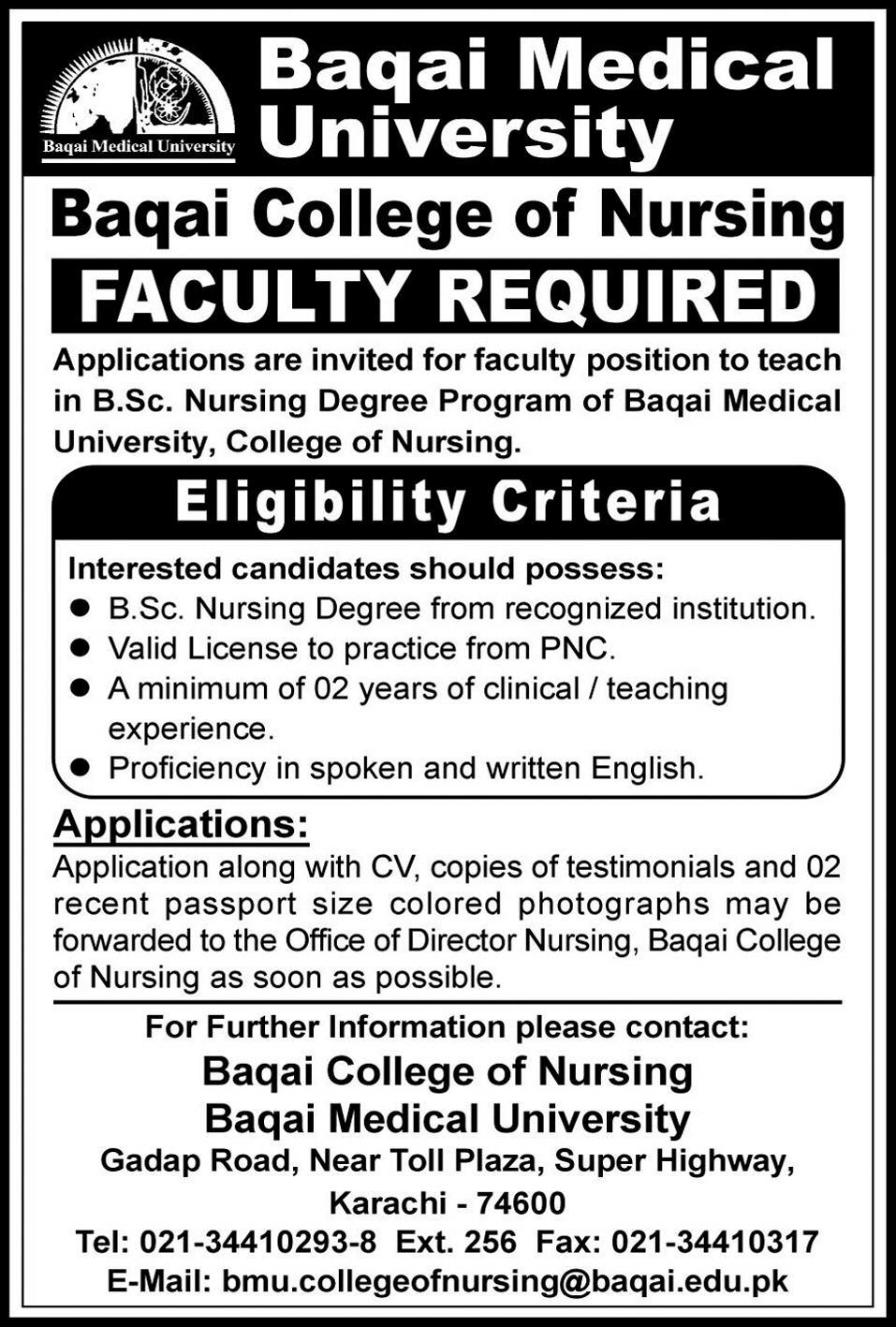 Baqai College of Nursing Requires Faculty - Baqai Medical University