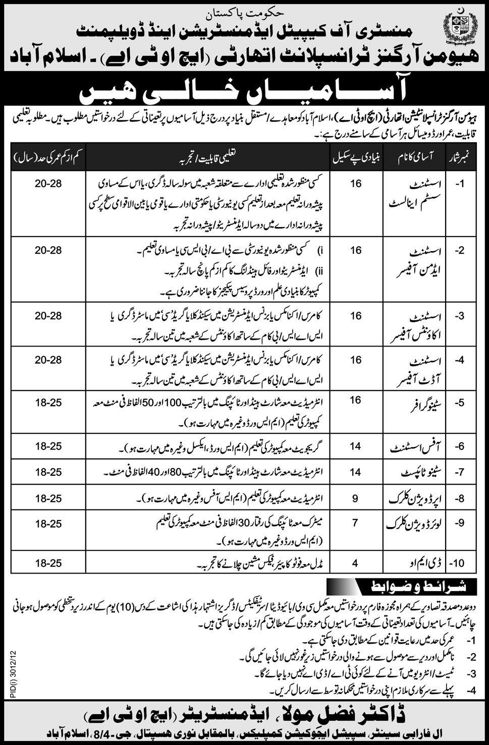 Jobs in HOTA Islamabad 2013