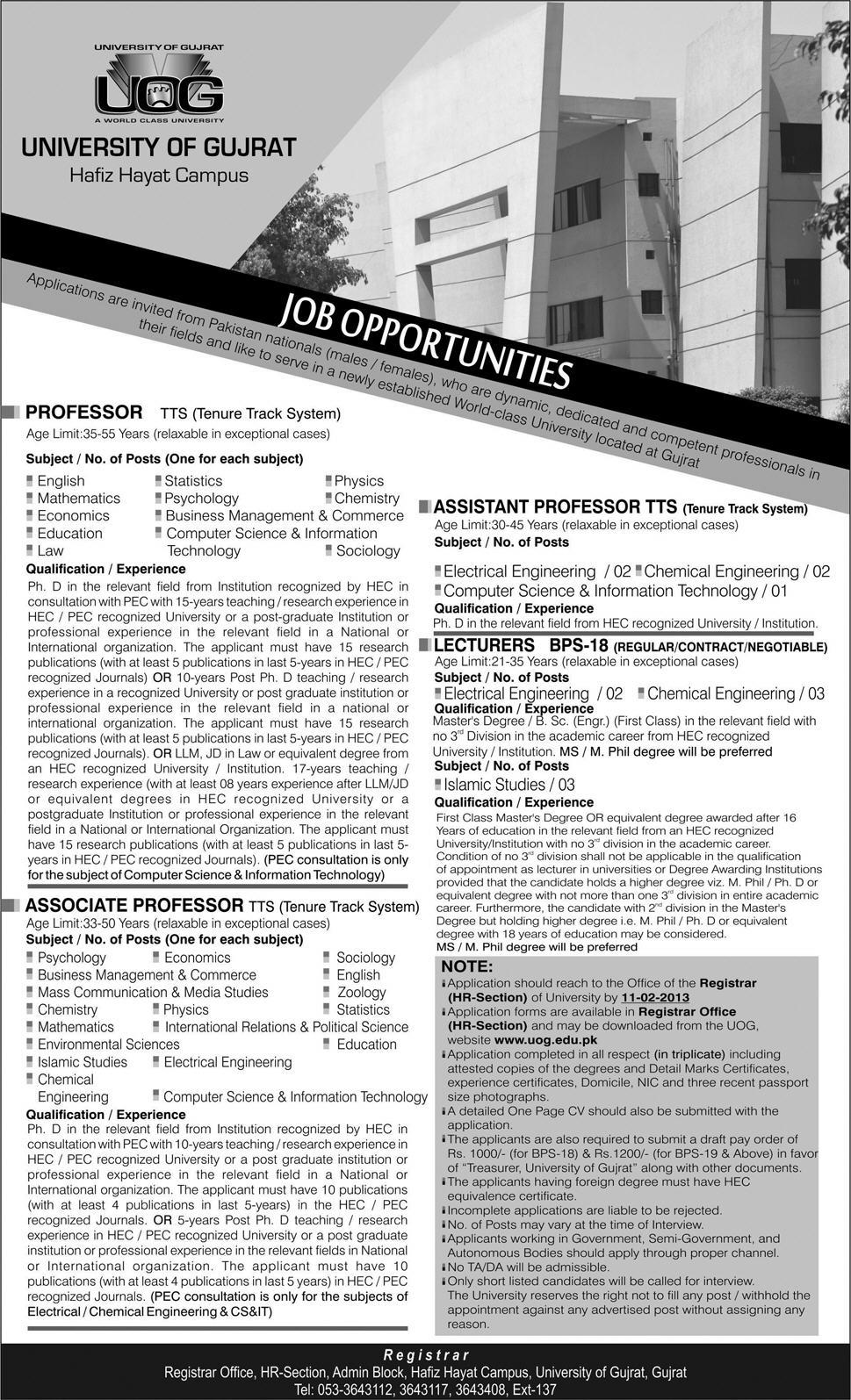 University of Gujrat Jobs 2013 for Faculty
