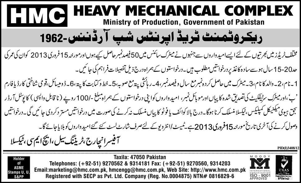 Heavy Mechanical Complex Taxila Jobs 2013 Apprenticeship Training