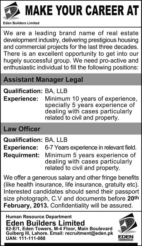 Eden Builders Lahore Jobs 2013 for Assistant Manager Legal & Law Officer