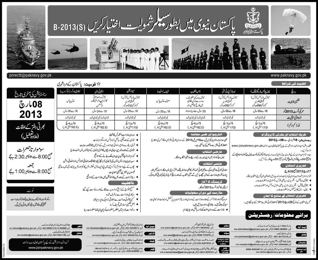 Join Pakistan Navy Online Registration 2013 as Sailor B-2013(S)