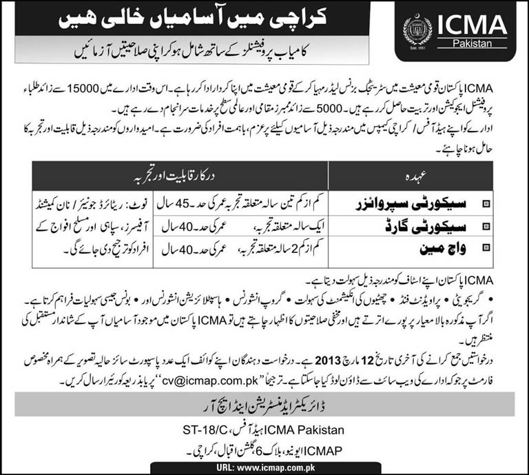 ICMA Jobs in Karachi 2013 Pakistan ICMAP for Security Supervisor, Security Guard & Watchman