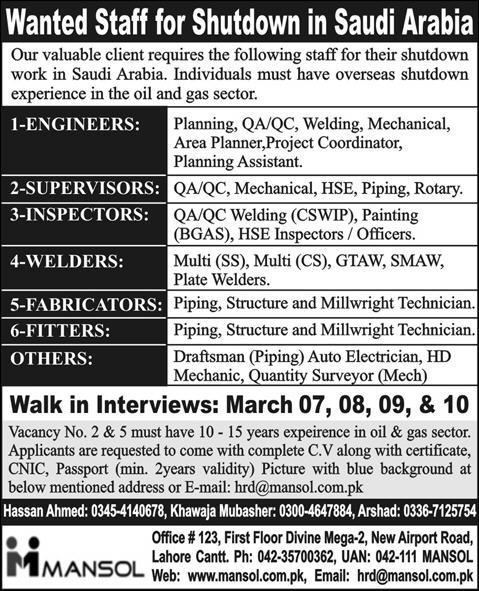 Engineers, Supervisors & Technical Jobs in Saudi Arabia through Mansol