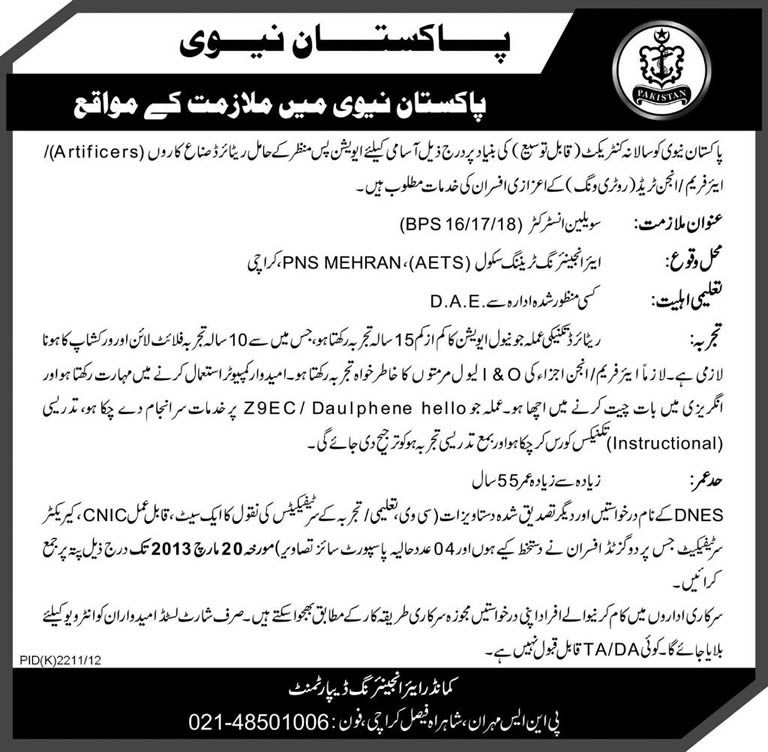 Pakistan Navy Jobs 2013 for Civilian Instructors Aviation