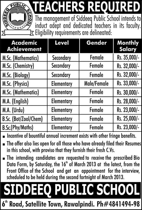 Siddeeq Public School Rawalpindi Jobs 2013 Latest for Teachers