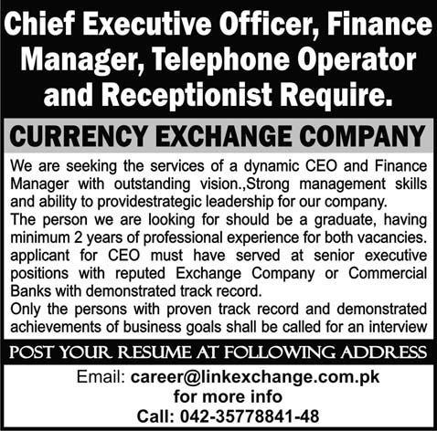 Link Exchange Jobs For Ceo Finance Manager Telephone