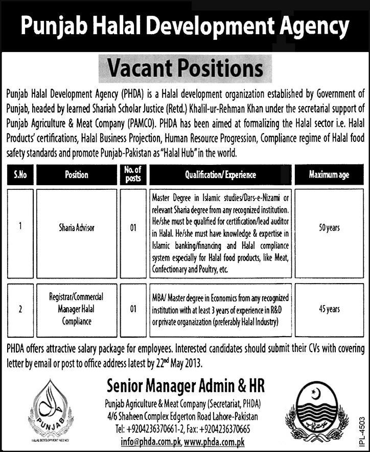 Punjab Halal Development Agency Jobs  Sharia Advisor  Registrar