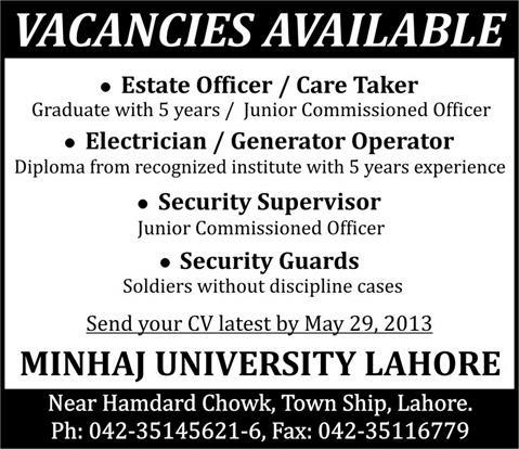 Minhaj University Lahore Jobs 2013 Estate Officer