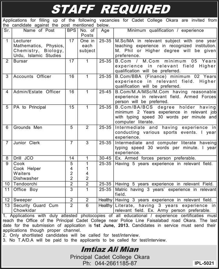 Cadet College Okara Jobs 2013 May Latest Teaching Faculty (Lecturers) & Non-Teaching Staff