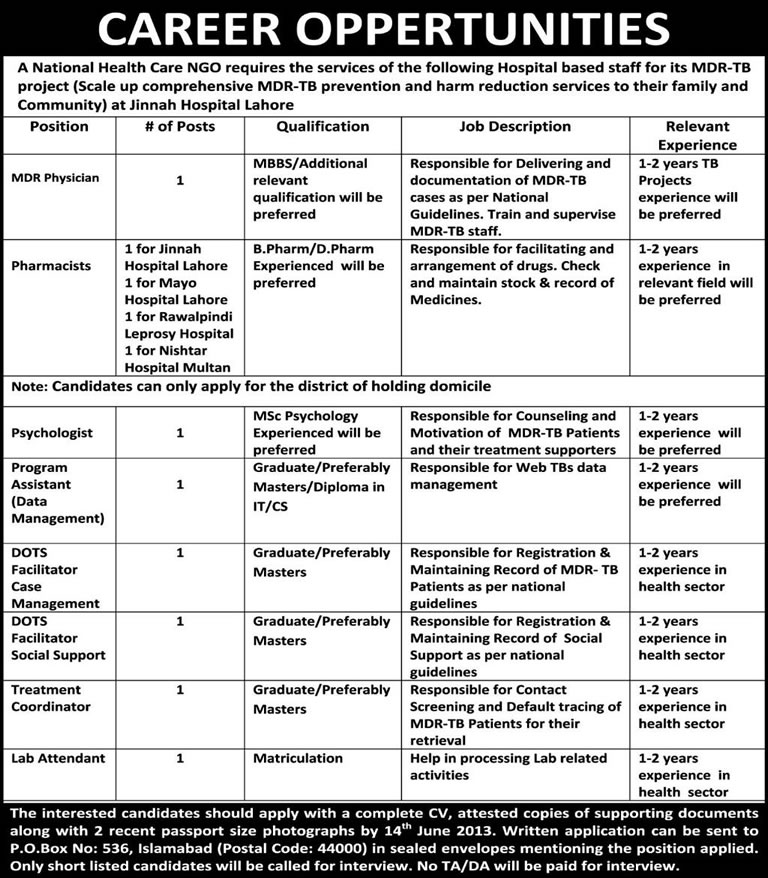 PO Box 536 Islamabad Jobs 2013-June-08 for MDR-TB Project of a National Healthcare NGO