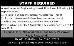 Electrical / Electronics Engineer, Accounts Assistant & Office Boy Jobs in Rawalpindi 2013 July at Benchmark Technologies