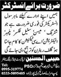 Civil Instructor Jobs in Haripur Hazara 2013 August Latest at Habibi Al-Husnain Trade Test & Training Center