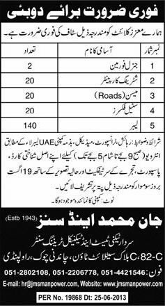 Construction Jobs in Dubai 2013 August for Pakistanis through Jan Muhammad & Sons