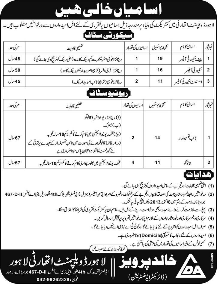 Lahore Development Authority (LDA) Jobs 2013 September for Security & Revenue Staff
