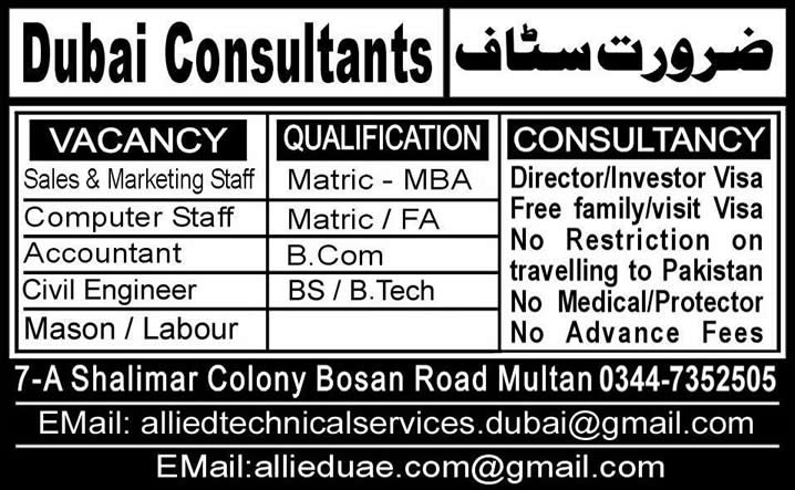 Jobs in Dubai UAE 2014 for Civil Engineers, Sales, Marketing & other Staff