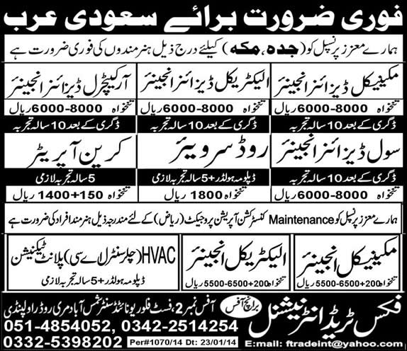 Engineers, Crane Operator & Technician Jobs in Saudi Arabia 2014 for Pakistanis Through Fix Trade International