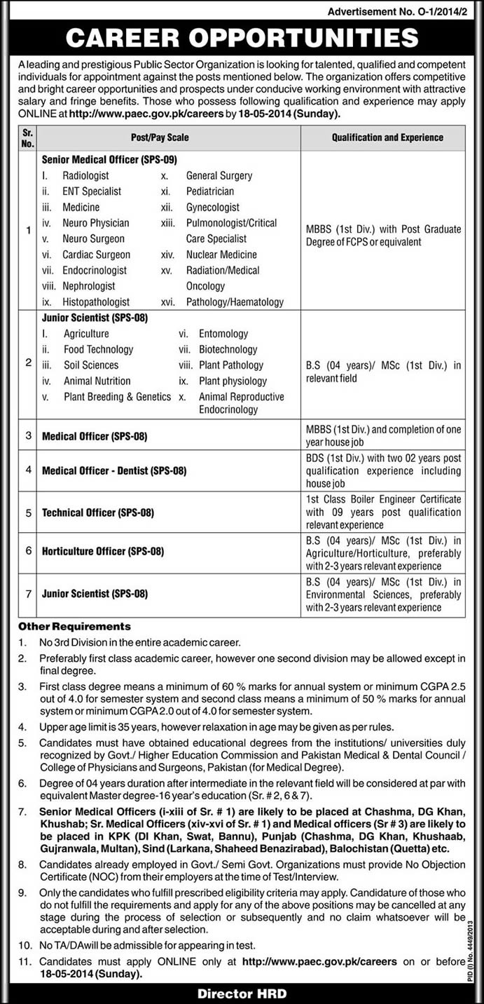 Pakistan Atomic Energy Commission Jobs May 2014 Medical Officers, Dentists, Scientists & Others