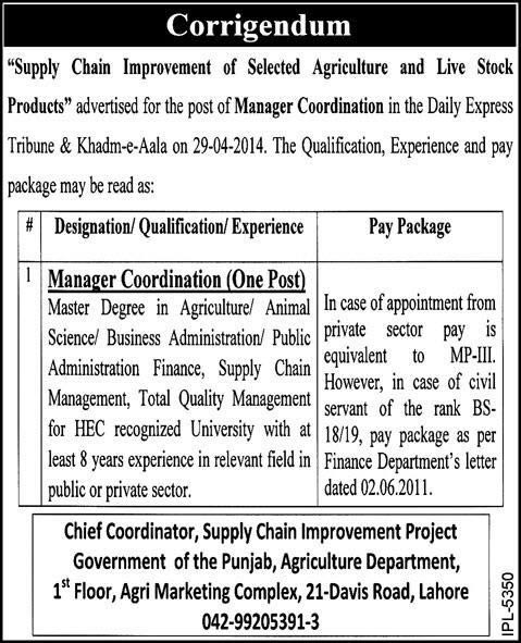 Corrigendum: Agriculture Department Punjab Jobs 2014 May for Manager Coordination