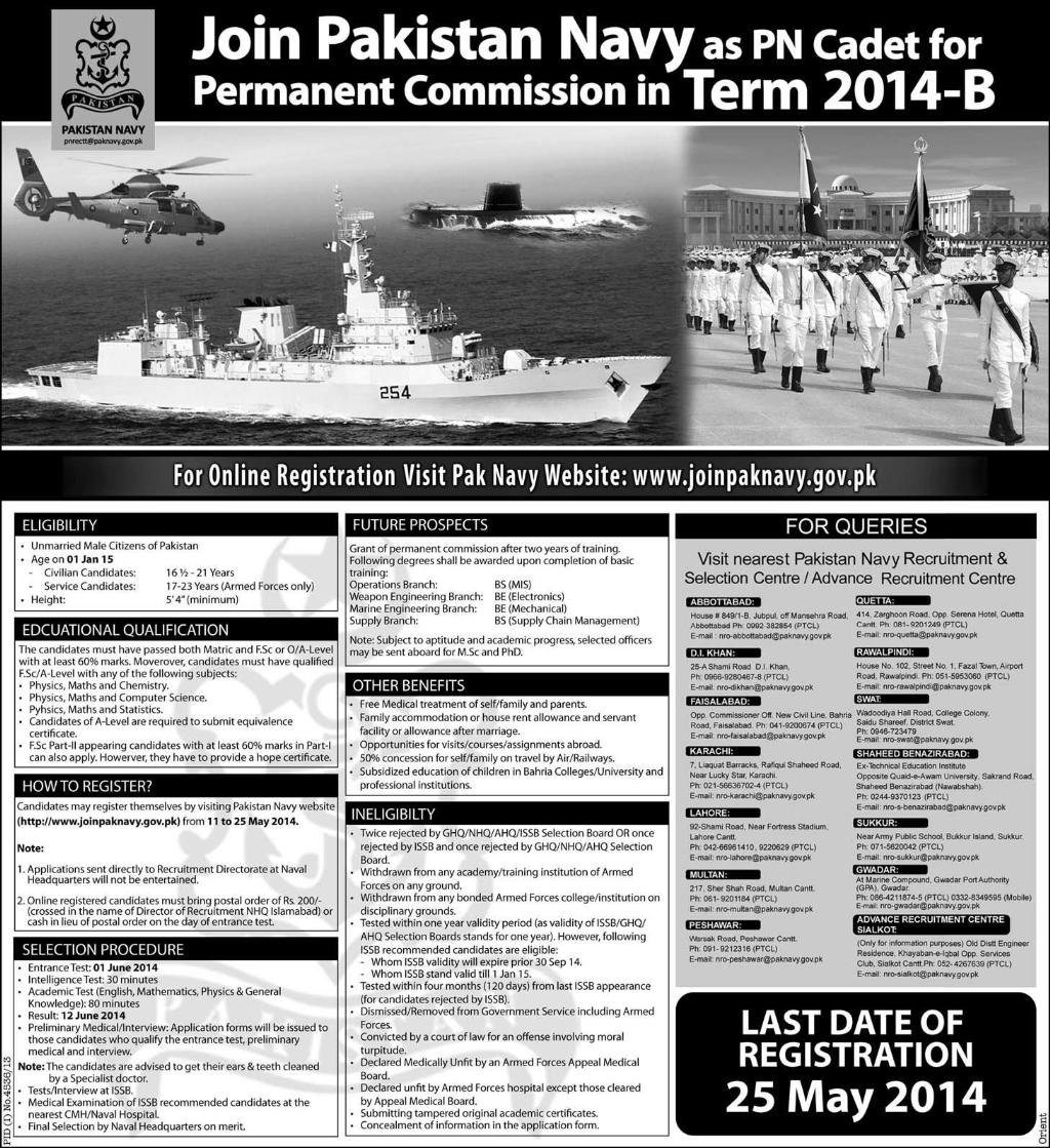 www.paknavy.gov.pk Online Registration 2014 May for PN Cadets in Term ...