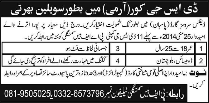 Pakistan Army DSG Jobs 2014 May for Cook