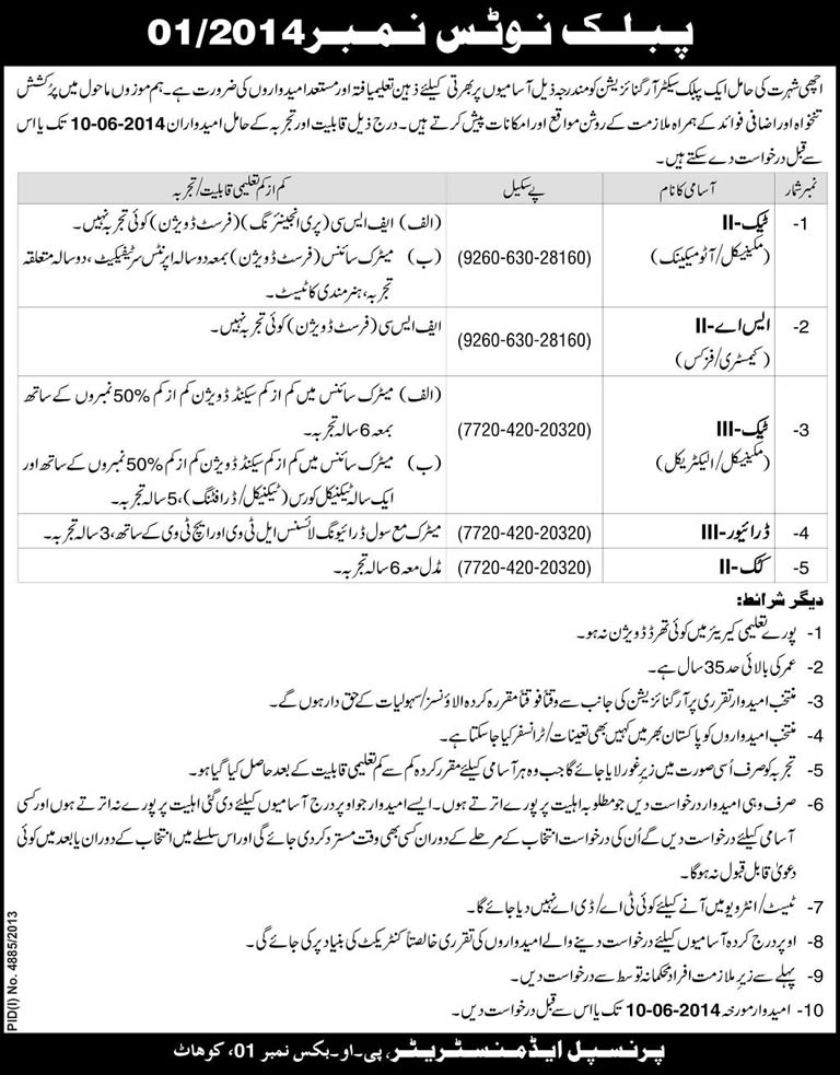 PO Box 01 Kohat Jobs 2014 May in Pakistan Atomic Energy Commission