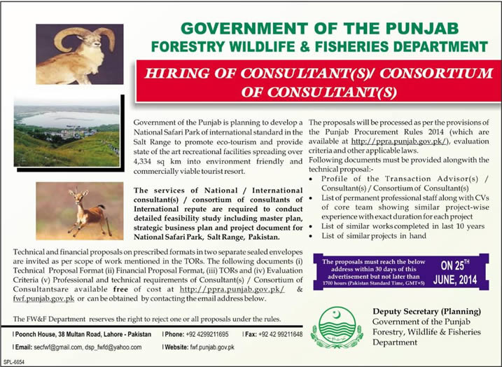 Wildlife and Fisheries Department Punjab Jobs 2014 May for Consultants
