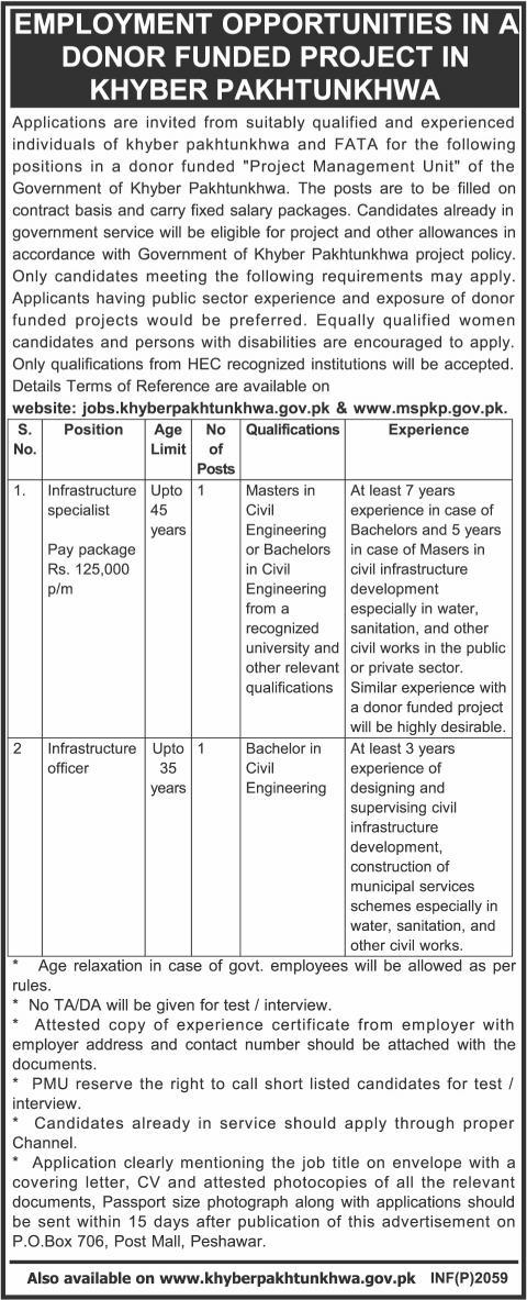 Municipal Services Program KPK Jobs 2014 May for Civil Engineers