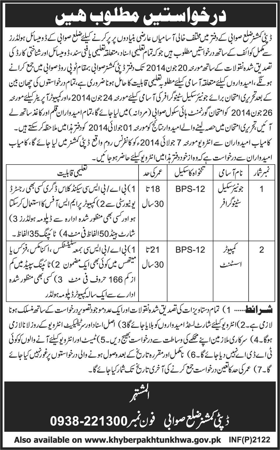 Junior Scale Stenographer & Computer Assistant Jobs in Swabi  KPK 2014 May / June in Office of Deputy Commissioner