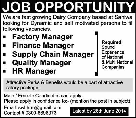 Factory  Finance  Supply Chain  Quality  Hr Manager Jobs In