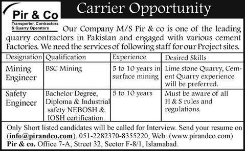 Mining / Safety Engineer Jobs in Islamabad 2014 July in Pir & Co