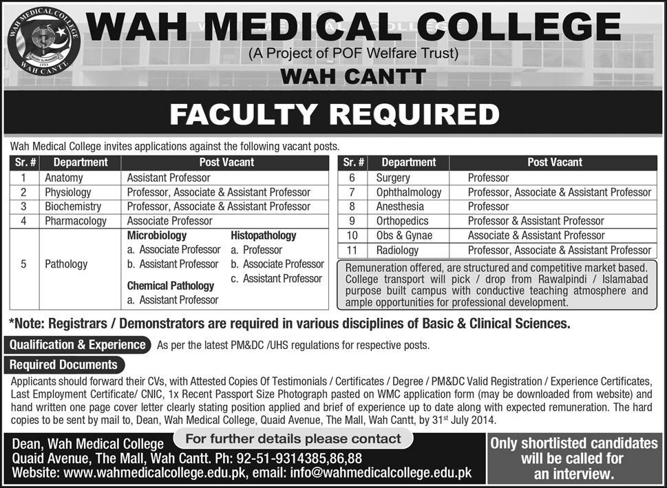 Wah Medical College Jobs 2014 July for Medical Faculty in Wah Cantt ...