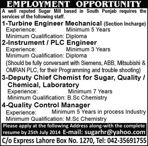 Instrumentation / Mechancial Engineers & Chemist Jobs in Punjab 2014 July in Sugar Mill