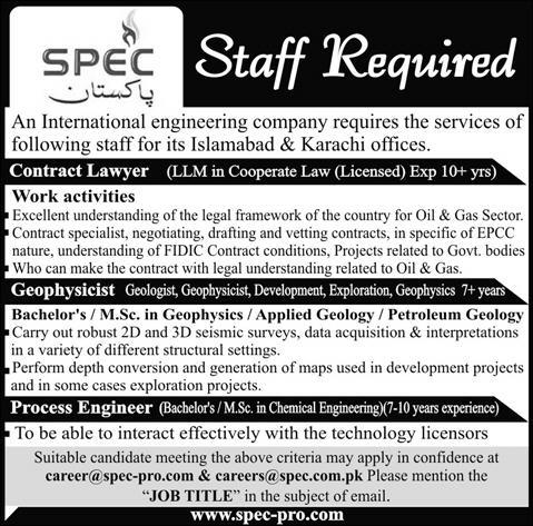 Spec Pakistan Jobs 2014 July For Contract Lawyer, Geophysicist
