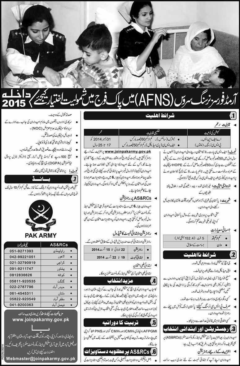 Join Pak Army 2015 Admission in Armed Forces Nursing Service (AFNS ...
