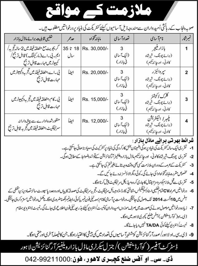 Model Bazar Lahore Jobs 2014 July Latest In City District