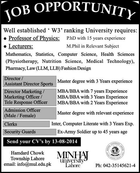 minhaj university lahore jobs 2014 august for teaching faculty non teaching staff - Resume M Phil Computer Science