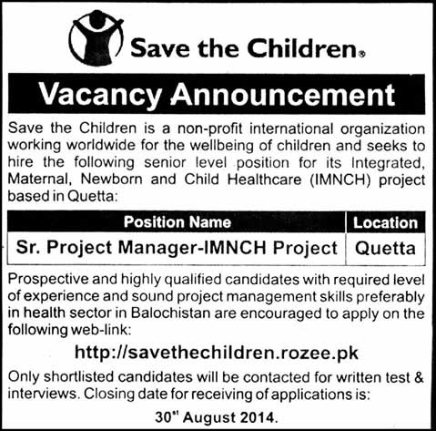 save the children jobs in quetta 2014 august for senior project manager imnch project in quetta. Black Bedroom Furniture Sets. Home Design Ideas