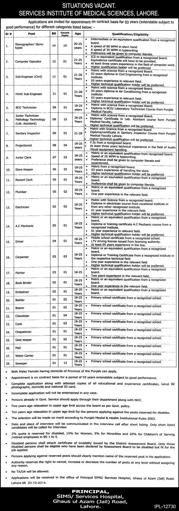 Services Institute of Medical Sciences Lahore Jobs 2014 October Stenographers, Lab Assistants & Others
