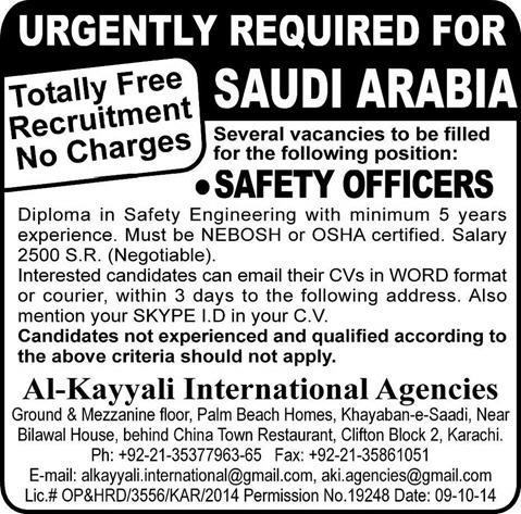 Safety Officer Jobs in Saudi Arabia 2014 October for Pakistanis Latest through Al-Kayyali ...