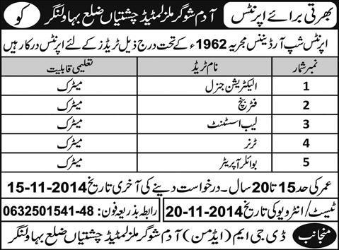Adam Sugar Mills Limited Apprenticeships 2014 November Bahawalnagar for Trade Apprentices
